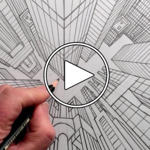 عکس - ترسیم پرسپکتیو دید پرنده یک منظر شهری