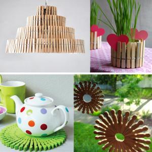 عکس - طرحهای خلاقانه با استفاده از گیره های چوبی لباس