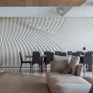 تصویر - طراحی جالب توجه دیوار در فضای نهارخوری - معماری