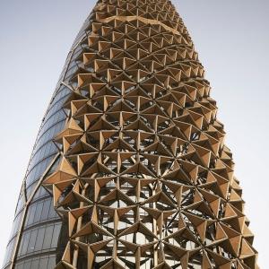 عکس - پوسته متحرک بی نظیر در برجهای دوقلوی ابوظبی