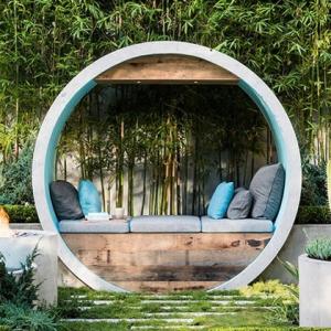 عکس - برنده جایزه طراحی فضای سبز با استفاده از لوله های بتنی