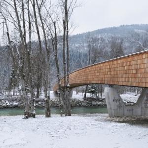 تصویر - پل زیبای دوچرخه بر روی رودخانه Sava ، اثر تیم طراحی dans arhitekti، اسلوونی - معماری