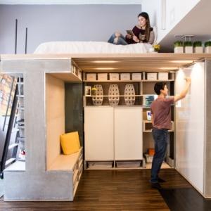 تصویر - بیشترین استفاده از فضاهای کوچک در فضایی پیش ساخته و چندمنظوره - معماری