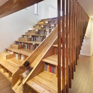 تصویر - پلکان هایی چندمنظوره با کاربری همزمان قفسه کتاب - معماری