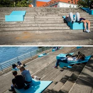 تصویر - نصب نیمکتهای رنگی بر روی پلکان مجاور رودخانه ای در لهستان  - معماری