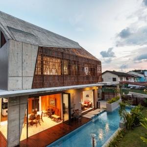 تصویر - پوسته منحصر به فرد نما از چوب ساج ، اثر تیم طراحی Aamer Architects ، سنگاپور - معماری