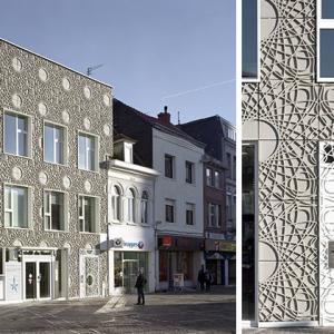 تصویر - نمای ساختمانی با پانلهای تزئینی بتنی - معماری