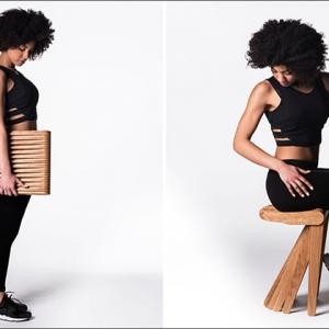 عکس -  چهارپایه ای متشکل از 27 قطعه چوب بهم پیوسته