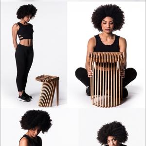 تصویر -  چهارپایه ای متشکل از 27 قطعه چوب بهم پیوسته - معماری