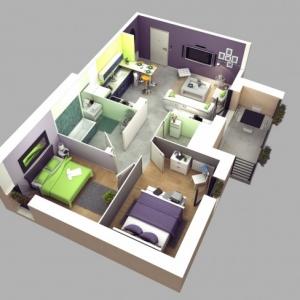 تصویر - نمونه هایی از آپارتمان های دو خوابه - معماری