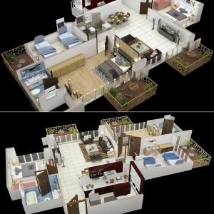 تصویر - نمونه پلان هایی از آپارتمان 3 خوابه - معماری