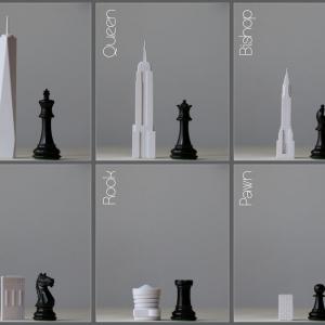 تصویر - ساختمانهای نمادین شهر نیویورک به عنوان مهره های شطرنج - معماری