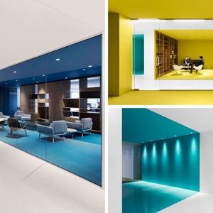 تصویر - جداسازی فضایی بر اساس رنگ در فضای اداری - معماری