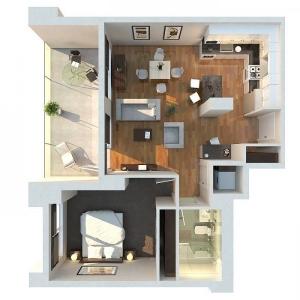 تصویر - نمونه آپارتمانهایی با یک اتاق خواب - معماری