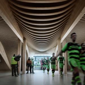 تصویر - استادیوم چوبی Rovers , زاها حدید , بریتانیا - معماری