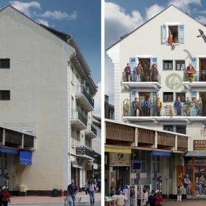 عکس - خلاقیت هنرمند فرانسوی در تبدیل  دیوارهای خسته کننده شهر به صحنه هایی زنده و شاد