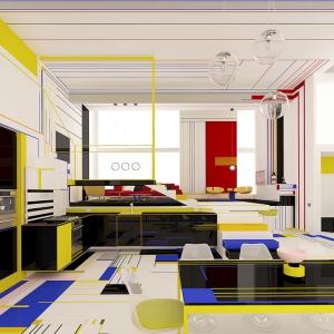 عکس - طراحی داخلی با اقتباس از آثار نقاشی PIET MONDRIAN