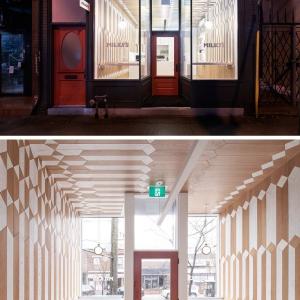 تصویر - طراحی داخلی کافی شاپ با دو رنگ متفاوت چوب - معماری