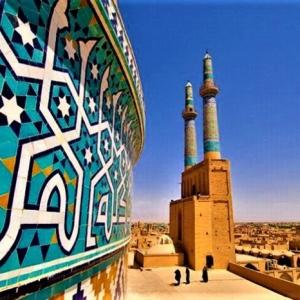 عکس - مسجد جامع یزد , یکی از شاهکارهای هنر معماری ایران با بلندترین مناره جهان