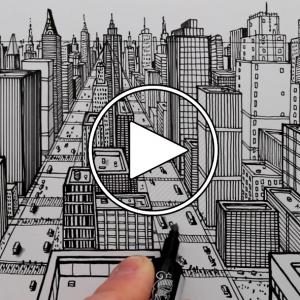 تصویر - نحوه ترسیم یک شهر با استفاده از پرسپکتیو 1 نقطه ای : طراحی قلم - معماری