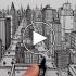 عکس - نحوه ترسیم یک شهر با استفاده از پرسپکتیو 1 نقطه ای : طراحی قلم