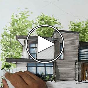 عکس - اسکیس و راندو معماری یک خانه , توسط Ariel Brindis