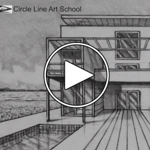تصویر - ترسیم پرسپکتیو یک نقطه ای یک ساختمان : مسکونی معکب , از مجموعه Circle Line Art School - معماری