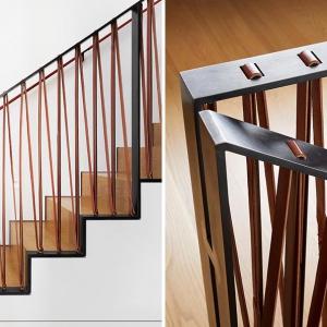 عکس - طراحی نرده ای خاص با ترکیب چرم و فولاد