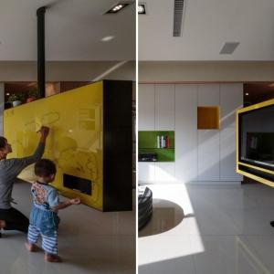 عکس - تلویزیون و تخته وایت برد خاص آپارتمانی در تایوان