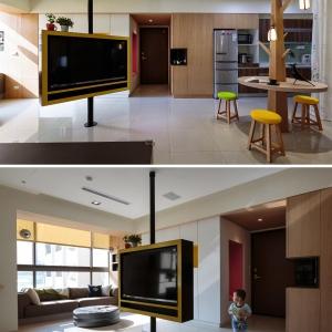 تصویر - تلویزیون و تخته وایت برد خاص آپارتمانی در تایوان  - معماری