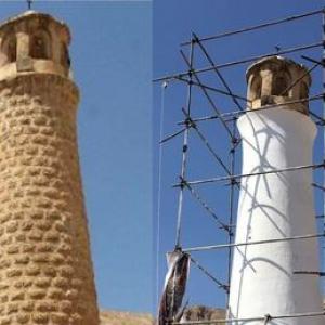 عکس - پاکسازی نمای منار مسجد پامنار , جوابیه میراث فرهنگی