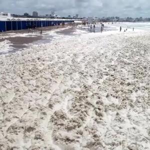 عکس - پدیده کف دریایی در ساحل آرژانتین