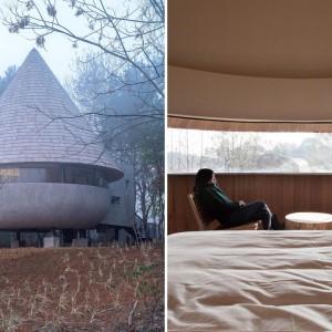 عکس - خانه قارچی شکل با دیدی پانوراما به اطراف