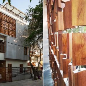 عکس - صفحه خاص چوبی بکاررفته در نمای ساختمانی در بنگلور هند