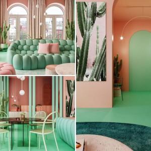 عکس - طراحی داخلی آپارتمانی خاص در نیویورک با ترکیب رنگی صورتی پاستلی و سبز نعنایی