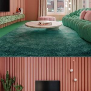 تصویر - طراحی داخلی آپارتمانی خاص در نیویورک با ترکیب رنگی صورتی پاستلی و سبز نعنایی - معماری