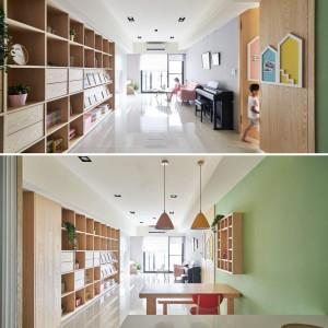 تصویر - وایت برد کشویی ویژگی اصلی طراحی اتاق کودک در این آپارتمان  - معماری