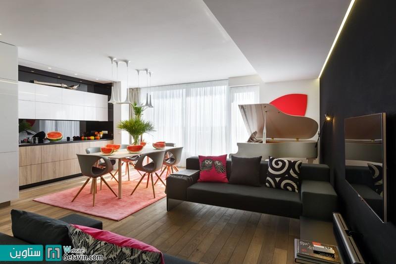 یک آپارتمان زیبا در روسیه با استفاده از رنگ