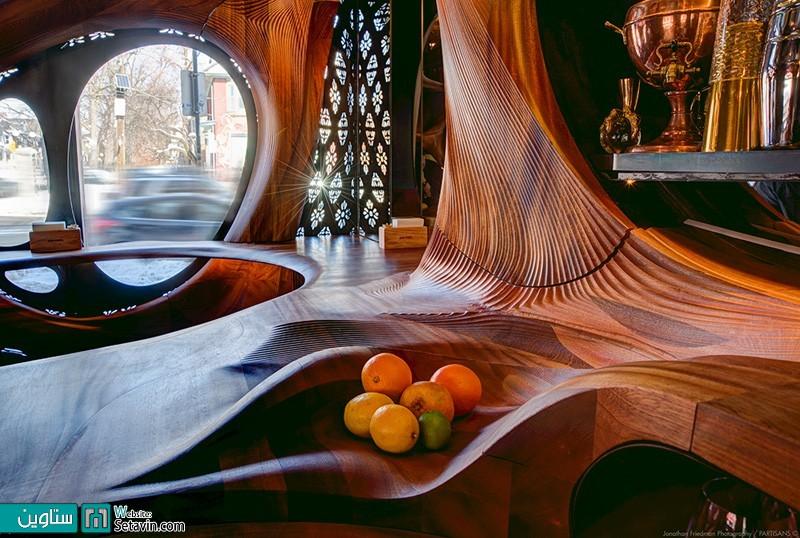 زیبایی خیره کننده چوب در کافی شاپ Raval , تورنتو , اثر PARTISANS